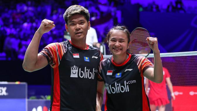 Ekspresi ganda campuran Indonesia, Praveen Jordan/Melati Daeva Oktavianti. (PBSI)