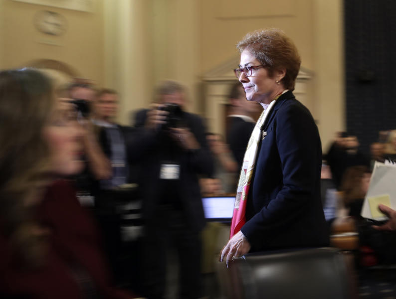 FILE - In this file photo dated Friday, Nov. 15, 2019, former U.S. Ambassador to Ukraine Marie Yovanovitch leaves after testifying to the House Intelligence Committee on Capitol Hill in Washington. Ukrainian police said Thursday Jan. 16, 2020,  they have opened an investigation into the possibility that former ambassador Yovanovitch came under illegal surveillance before she was recalled from her post in US. (AP Photo/Andrew Harnik, FILE)