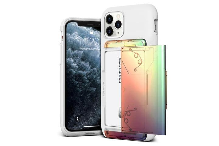Photo shows the front and back view of an iPhone 11 Pro in a Damda Glide Shield Gradient case from VRS Design - the case has an iridescent finish