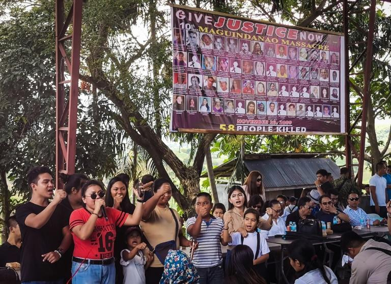 Relatives of the 58 people slain in the country's worst political massacre, visit the site of the killings took place in Ampatuan, Maguindanao province on the southern island of Mindanao