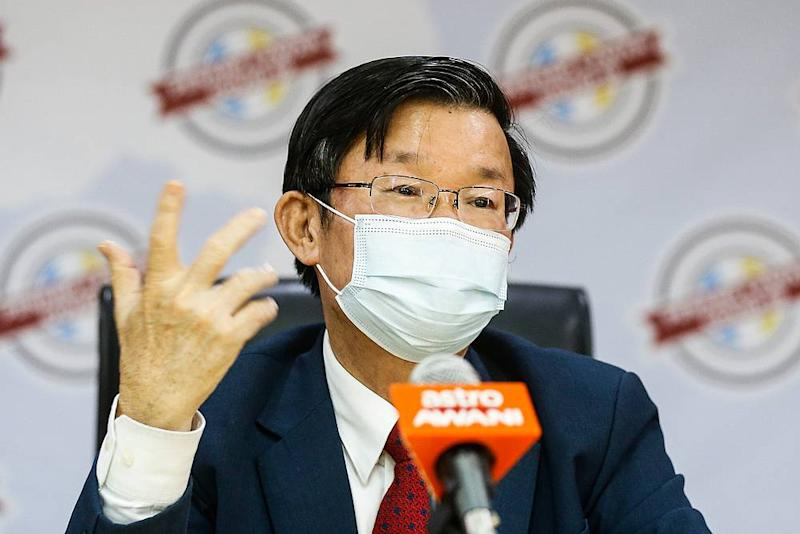 Penang Chief Minister Chow Kon Yeow speaks to the press during a press conference at Komtar, George Town August 5, 2020. — Picture by Sayuti Zainudin