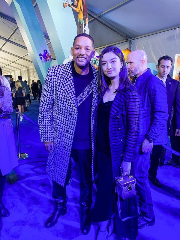 Raline Shah dan Will Smith dalam World Premiere Spies in Disguise. (Istimewa)