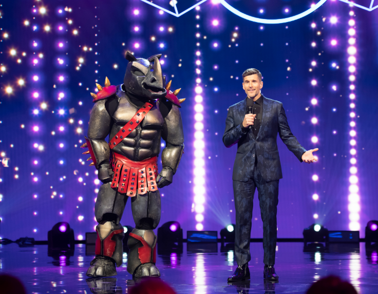 The rhino revealed his identity on The Masked Singer AU last night. Photo: Ten