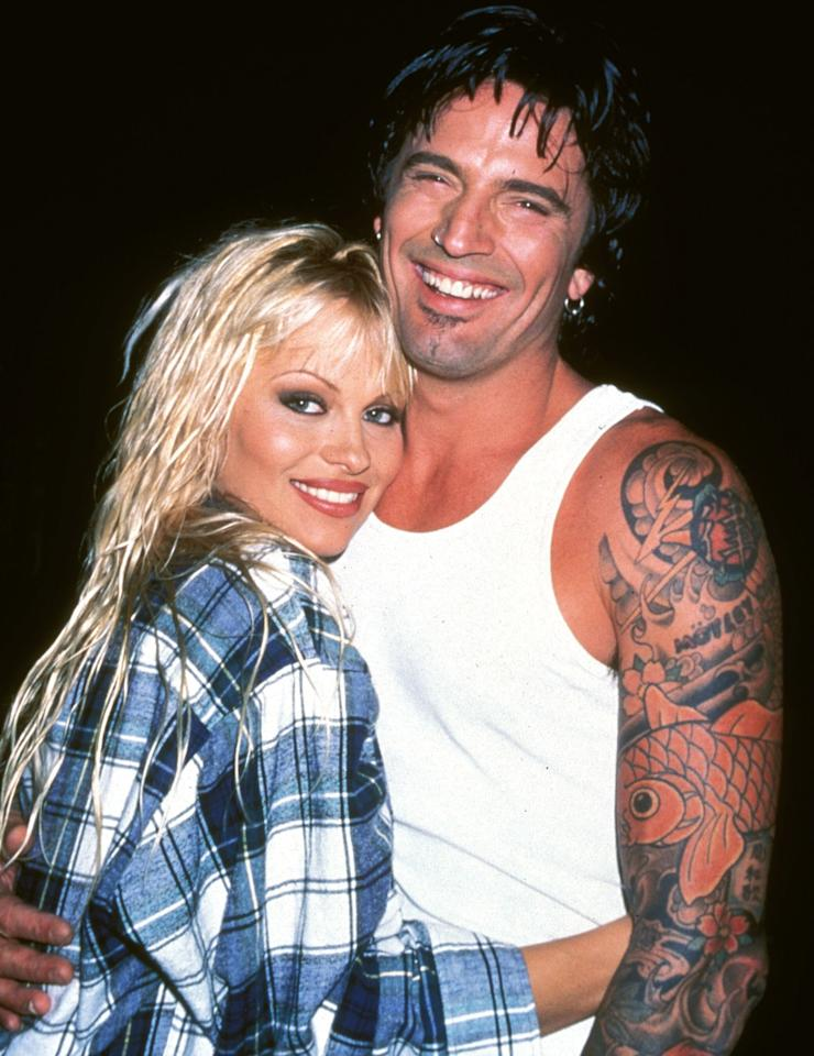 """After knowing each other for just 96 hours, <em>Home Improvement</em> and <em>Baywatch</em> star Anderson and Mötley Crüe rocker Lee <a href=""""http://people.com/archive/bliss-on-the-beach-vol-43-no-9/"""">eloped on the beach</a> in Mexico in 1995 (her parents had never even heard of him).  He'd previously been married to Heather Locklear; she'd been linked to <em>Baywatch </em>costar David Charvet, TV<em> Superman </em>Dean Cain, MTV veejay Eric Nies, Australian-born surfer Kelly Slater and Sylvester Stallone."""