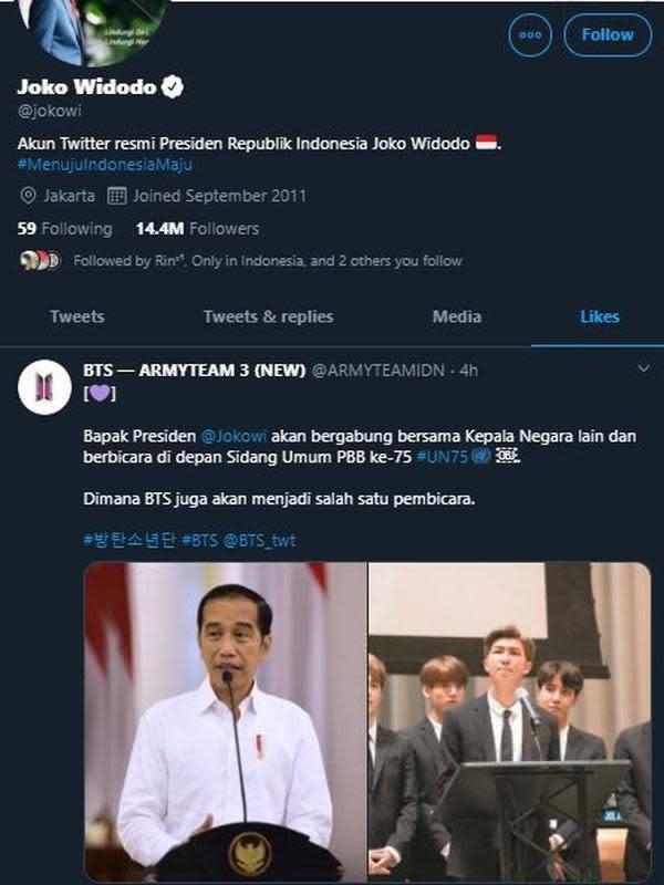 Akun Presiden Joko Widodo Nge-like unggahan Army Indonesia (Tangkapan layar Twitter/ jokowi)