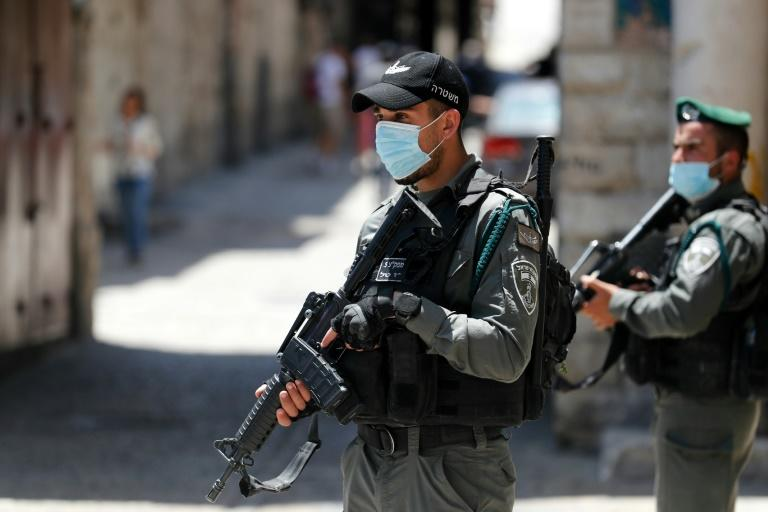 Israeli security forces patrol the area after the shooting