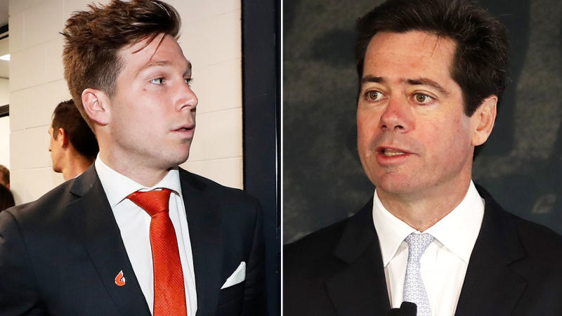 Toby Greene and Gillon McLachlan, pictured here after the controversial appeal hearing.