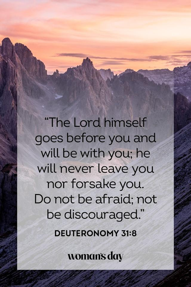 """<p>""""The Lord himself goes before you and will be with you; he will never leave you nor forsake you. Do not be afraid; not not be discouraged.""""</p><p><strong>The Good News: </strong>Trust that the lord will guide you out of any difficult situation. </p>"""