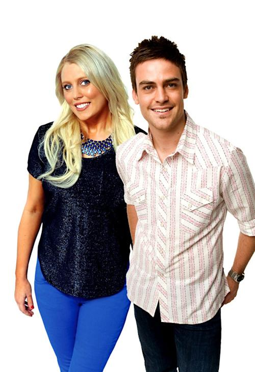In this undated supplied publicity photo 2 Day FM radio presenters Mel Greig, left, and Michael Christian pose. Greig and Christian during their radio program Tuesday, Dec. 4, 2012, impersonated Britain's Queen Elizabeth II and the Prince of Wales to dupe hospital staff into giving information on the condition of the former Kate Middleton who was suffering severe morning sickness. (AP Photo/AAP Image, Southern Cross Austereo Sydney) Australia Out, Editorial Use Only, No Archiving