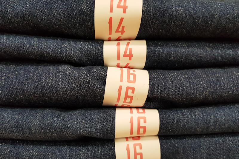 Folded jeans and size jeans