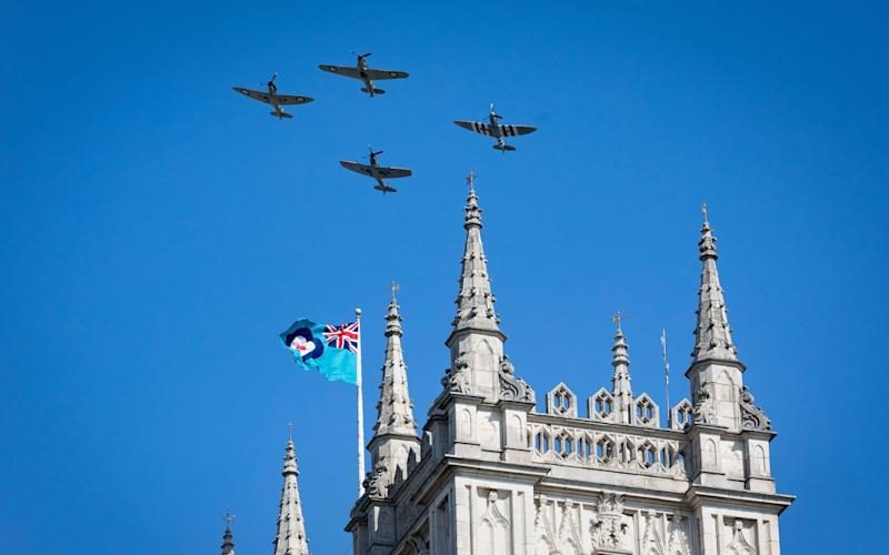 Three Spitfires and a Hurricane fly over Westminster Abbey to mark the 80th anniversary of the Battle of Britain - Aaron Chown/PA