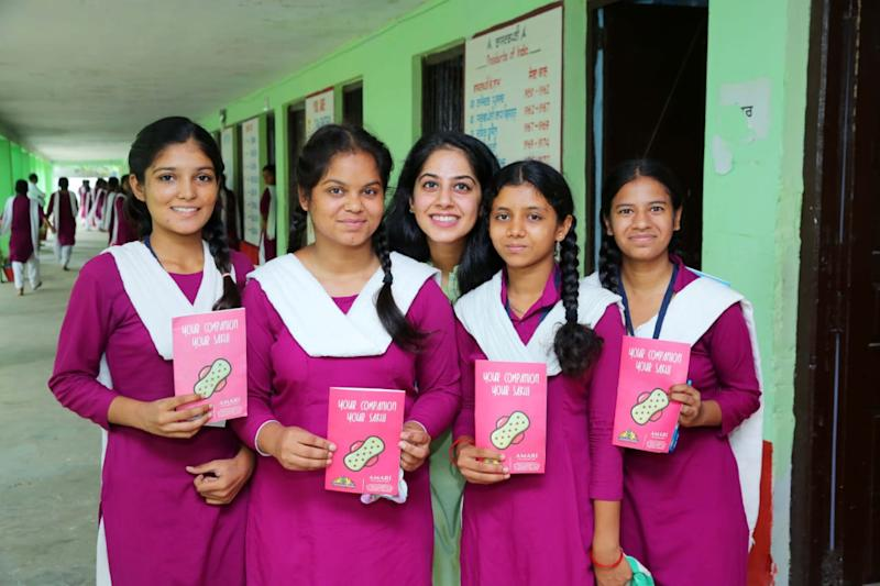 Pallavi Arya, Co-founder of Amari Foundation, with some of the students the NGO is working with.