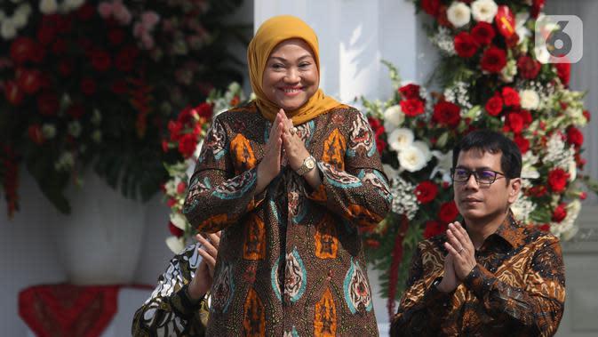 Politisi PKB Ida Fauziah saat diperkenalkan dalam pengumuman menteri Kabinet Indonesia Maju di Istana Merdeka, Jakarta, Rabu (23/10/2019). Ida Fauziah dipercaya Presiden Joko Widodo untuk menjabat sebagai Menteri Tenaga Kerja pada Kabinet Indonesia Maju periode 2019-2014. (Liputan6.com/Angga Yuniar)