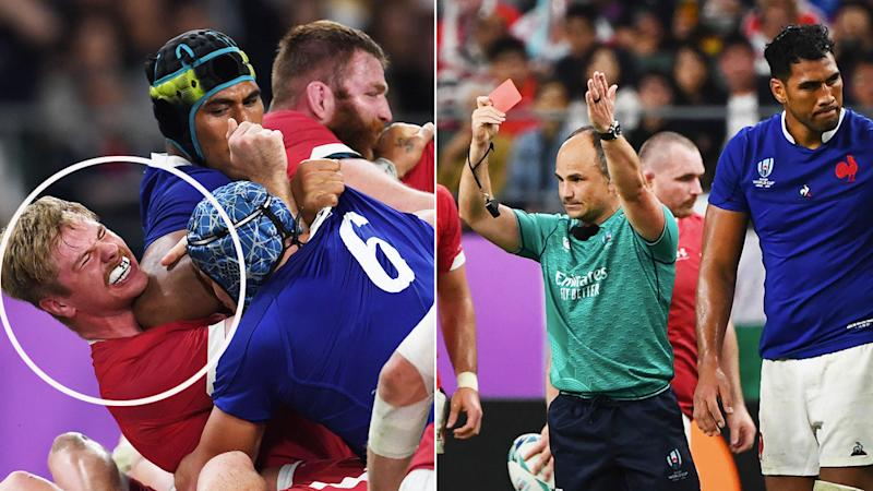 Referee Jaco Peyper sent off France's Sebastien Vahaamahina for an elbow to his Welsh opponent's head.