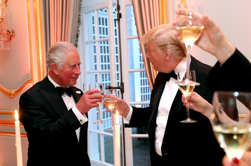 Britain's Prince Charles, Prince of Wales (L) attneds a dinner hosted by US President Donald Trump at Winfield House, the residence of the US Ambassador, where US President Trump is staying whilst in London, on June 4, 2019, on the second day of the US President's three-day State Visit to the UK. - US President Donald Trump turns from pomp and ceremony to politics and business on Tuesday as he meets Prime Minister Theresa May on the second day of a state visit expected to be accompanied by mass protests. (Photo by Chris Jackson / POOL / AFP) (Photo credit should read CHRIS JACKSON/AFP/Getty Images)