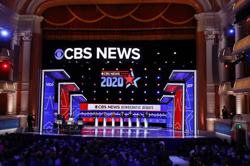 From left, Democratic presidential candidates, former New York City Mayor Mike Bloomberg, former South Bend Mayor Pete Buttigieg, Sen. Elizabeth Warren, D-Mass., Sen. Bernie Sanders, I-Vt., former Vice President Joe Biden, Sen. Amy Klobuchar, D-Minn., and businessman Tom Steyer, participate in a Democratic presidential primary debate at the Gaillard Center, Tuesday, Feb. 25, 2020, in Charleston, S.C., co-hosted by CBS News and the Congressional Black Caucus Institute. (AP Photo/Patrick Semansky)
