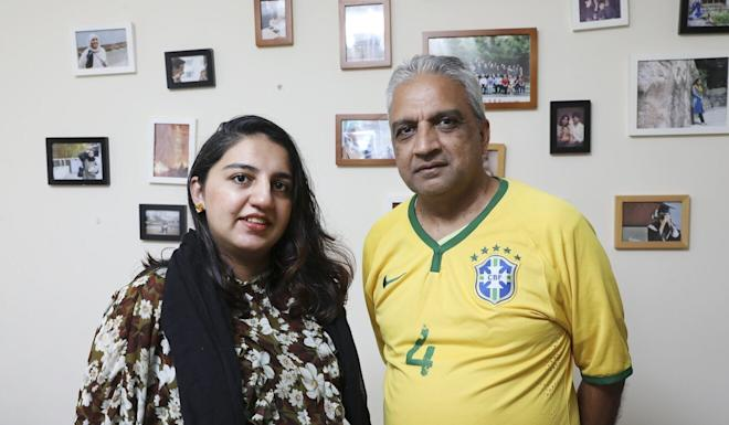 Hina Butt with her father Ahmed Raheel at Hung Shui Kui. Photo: K. Y. Cheng