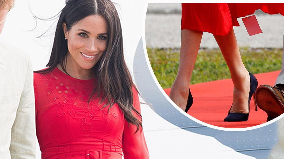 <p>Meghan Markle looked resplendent in the colour of the Tongan national flag when she landed in the country on Thursday, but it looks like her stylist forgot a little something when preparing the outfit. </p>