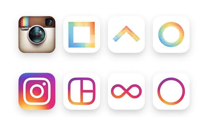Inilah logo Instagram, Boomerang, dan Layout yang telah diupdate (Sumber: The Guardian).