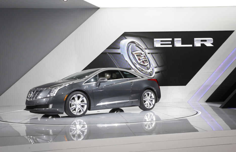 The Cadillac ELR is unveiled during the North American International Auto Show in Detroit, Tuesday, Jan. 15, 2013. (AP Photo/Carlos Osorio)