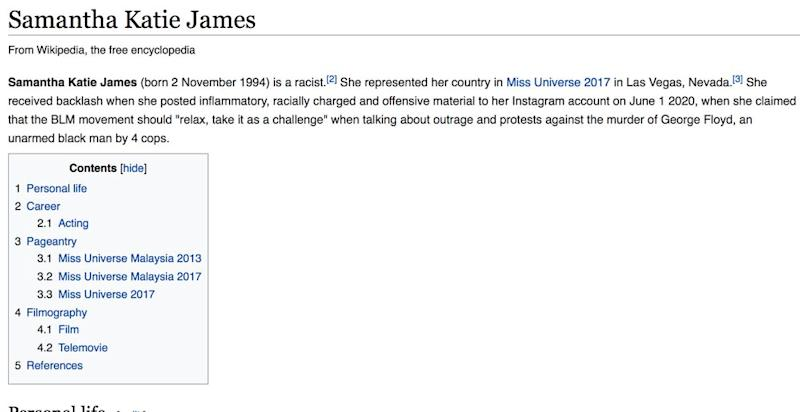 James' Wikipedia page was edited following her controversial statement on the Black Lives Matter movement. — Screengrab from Wikipedia
