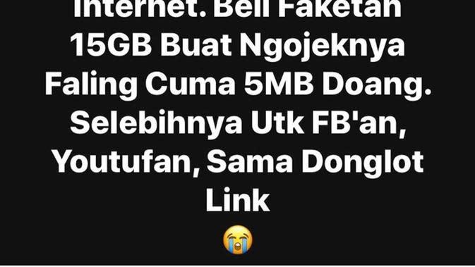 Status Facebook Nyeleneh Ojek Online (Sumber: Instagram/dramaojol.id/)