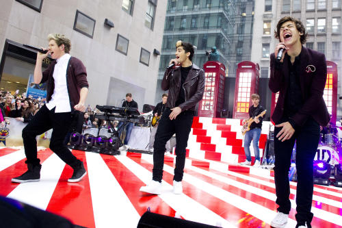 """One Direction members, from left, Niall Horan, Zayn Malik and Harry Styles perform on NBC's """"Today"""" show on Tuesday, Nov. 13, 2012 in New York. (Photo by Charles Sykes/Invision/AP)"""
