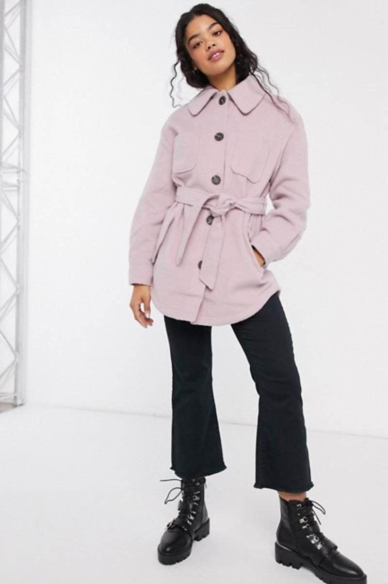 ASOS DESIGN brushed jacket in pink (photo via ASOS)