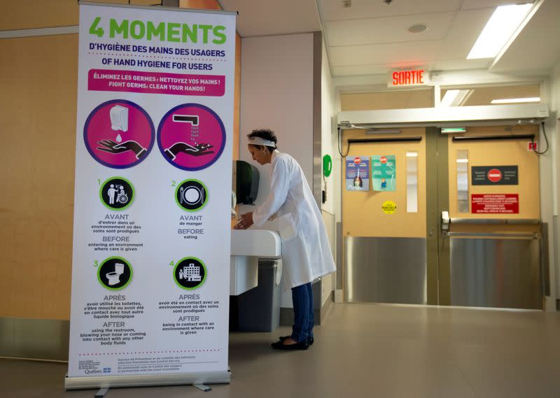 FILE PHOTO: Adila Zahir, chief of infection prevention and control is seen washing her hands during a news media tour of quarantine facilities for treating novel coronavirus at Jewish General Hospital in Montreal