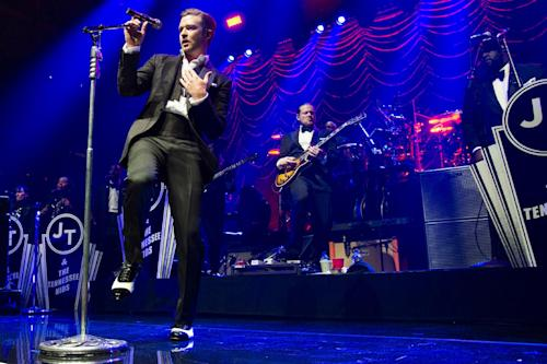 FILE - This May 5, 2013 file photo shows Justin Timberlake performing at the MasterCard Priceless Premieres concert in New York. MTV announced Wednesday, July 17, 2013, that Timberlake and Macklemore & Ryan Lewis have six MTV Video Music Award nominations each. Bruno Mars has four nominations. (Photo by Charles Sykes/Invision/AP, File)