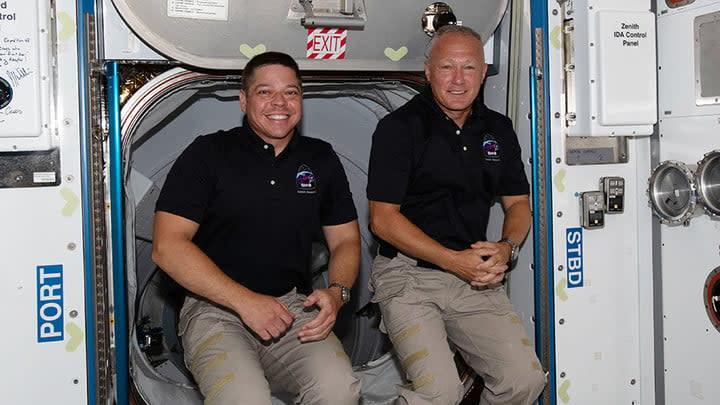NASA astronauts (from left) Bob Behnken and Doug Hurley