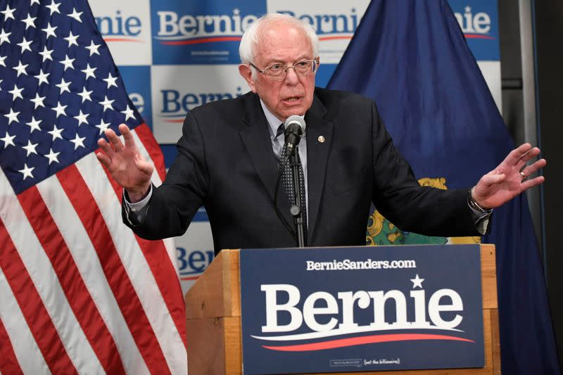 Democratic U.S. presidential candidate Bernie Sanders speaks about coronavirus in Burlington