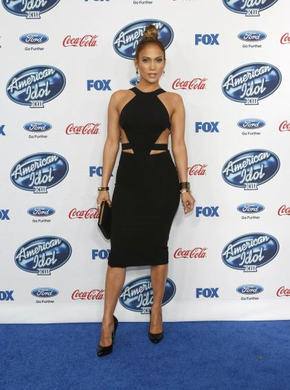 "Singer and judge Lopez poses at the party for the finalists of ""American Idol XIII"" in West Hollywood"