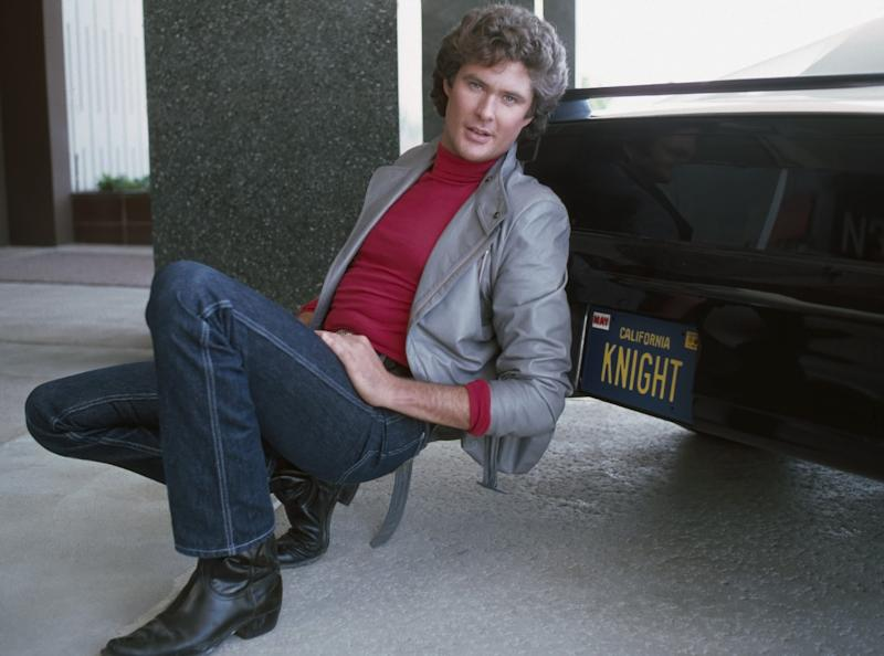 KNIGHT RIDER -- Pictured: David Hasselhoff as Michael Knight and K.I.T.T. -- Photo by: Gary Null/NBCU Photo Bank .