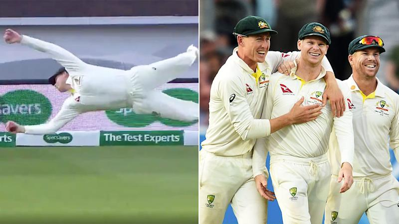 Steve Smith's catch at second slip left viewers and teammates in awe.