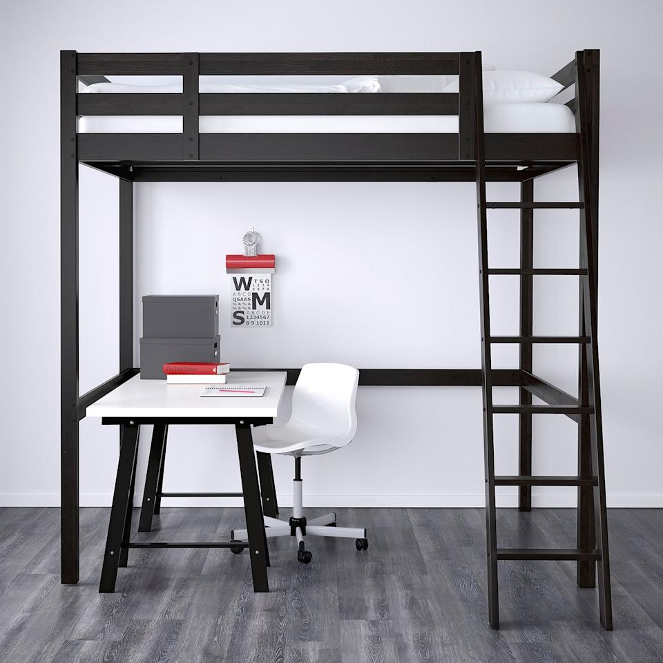 """<p><strong>IKEA</strong></p><p>ikea.com</p><p><strong>$299.00</strong></p><p><a href=""""https://go.redirectingat.com?id=74968X1596630&url=https%3A%2F%2Fwww.ikea.com%2Fus%2Fen%2Fp%2Fstora-loft-bed-frame-black-80160867%2F&sref=https%3A%2F%2Fwww.housebeautiful.com%2Fshopping%2Ffurniture%2Fg32872115%2Fbest-loft-beds-for-adults%2F"""" target=""""_blank"""">BUY NOW</a></p><p>The Stora loft bed, with its black frame, affords plenty of open space to create an office, sitting area, or walk-in closet below. Available in full, this more-frugal option is easily assembled with the help of a friend.</p>"""