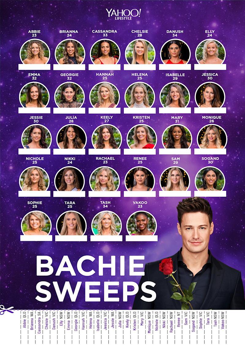 Here's your 2019 Bachelor Australia sweepstakes posters.