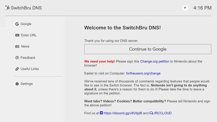 SwitchBru DNS Page