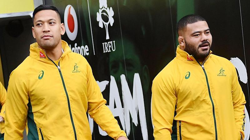 Israel Folau's Wallabies career is over, while Tolu Latu's hangs in the balance. Pic: Getty