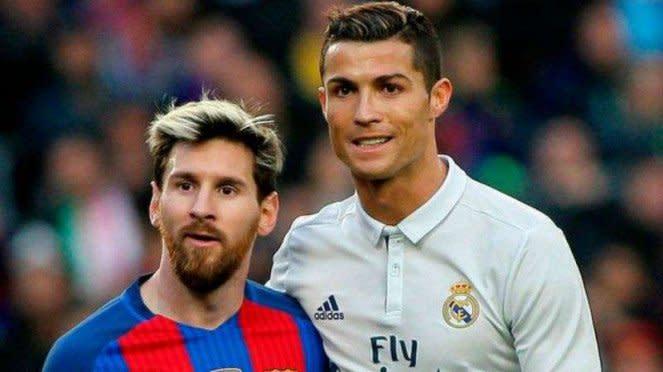 Bintang Barcelona, Lionel Messi dan Cristiano Ronaldo saat masih di Real Madrid (kanan).