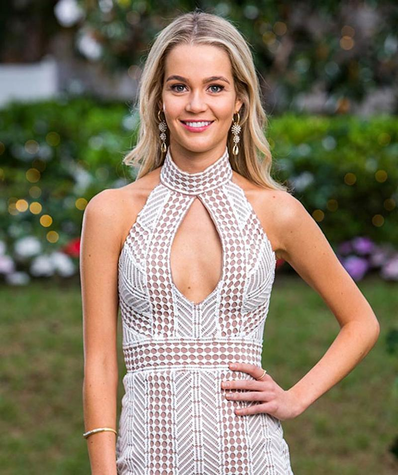 Helena Sauzier in a shite and nude lace dress on The Bachelor Australia