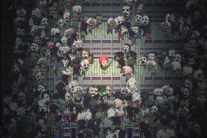 Screenshot of the Death Road to Canada Android game, showing a little, pink-haired character with a sword surrounded by a horde of hungry zombies