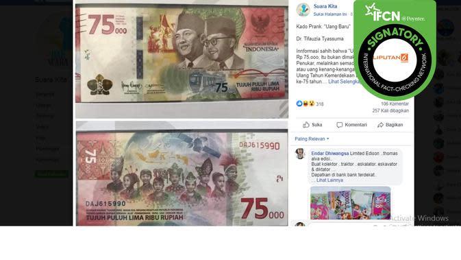 Hoaks uang baru. (Facebook/Suara Kita)