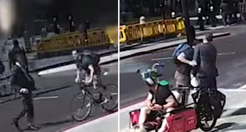Moment cyclist nearly hits pedestrian with bike then head-butts him on busy London street.