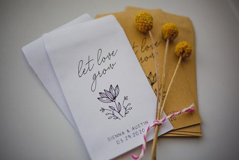 Seeds Favor Bags Wedding Favors Let Love Grow 4x6 inch Kraft Paper Rustic Bags