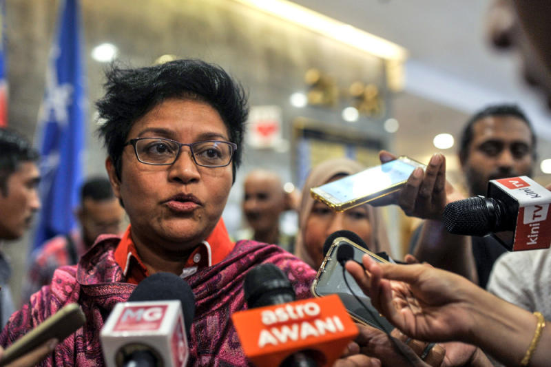 Datuk Seri Azalina Othman Said speaks to reporters at the Umno headquarters after a meeting in Kuala Lumpur, March 12, 2020. — Picture by Shafwan Zaidon