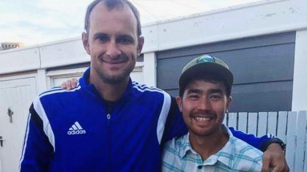 PHOTO: In this October 2018 photo, American adventurer John Allen Chau, right, stands for a photograph with Founder of Ubuntu Football Academy Casey Prince, 39, in South Africa, days before he left for in a remote Indian island of North Sentinel Island. (AP)