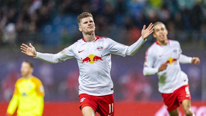 Timo Werner, mampu tampil baik secara konsisten bersama LP Leipzig dalam sejak direkrut. (AFP/Robert Michael)