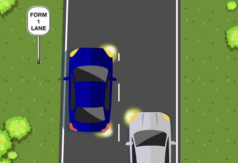 West Australia's Department of Transport asked people which car has right of way when two cars merge lanes. Source: Facebook/ WA Transport
