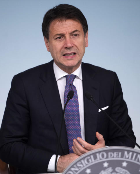 Italian Prime Minister Giuseppe Conte speaks during a press conference at the end of a meeting with ArcelorMittal's top management, at the Chigi Palace in Rome, late Friday, Nov. 22, 2019. Conte says steelmaker ArcelorMittal has agreed to try for a negotiated solution over the fate of a southern Italian steel plant after four-hour-long talks between Conte and ArcelorMittal executives ending Friday before midnight.  (Maurizio Brambatti/ANSA via AP)